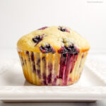 a single blueberry muffin on a square white plate