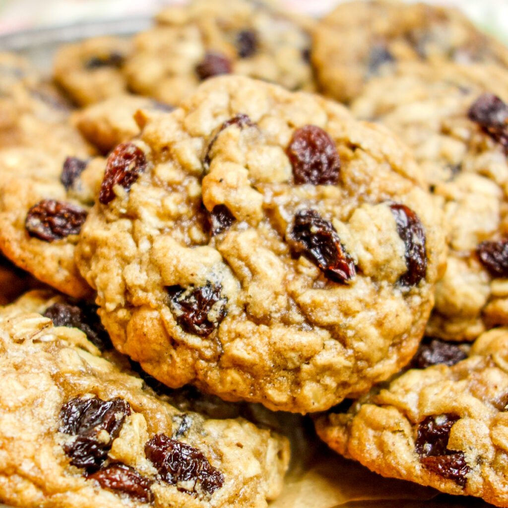 close up of an oatmeal raisin cookie