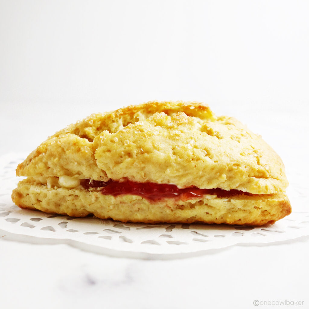 jam and butter-filled cream scone