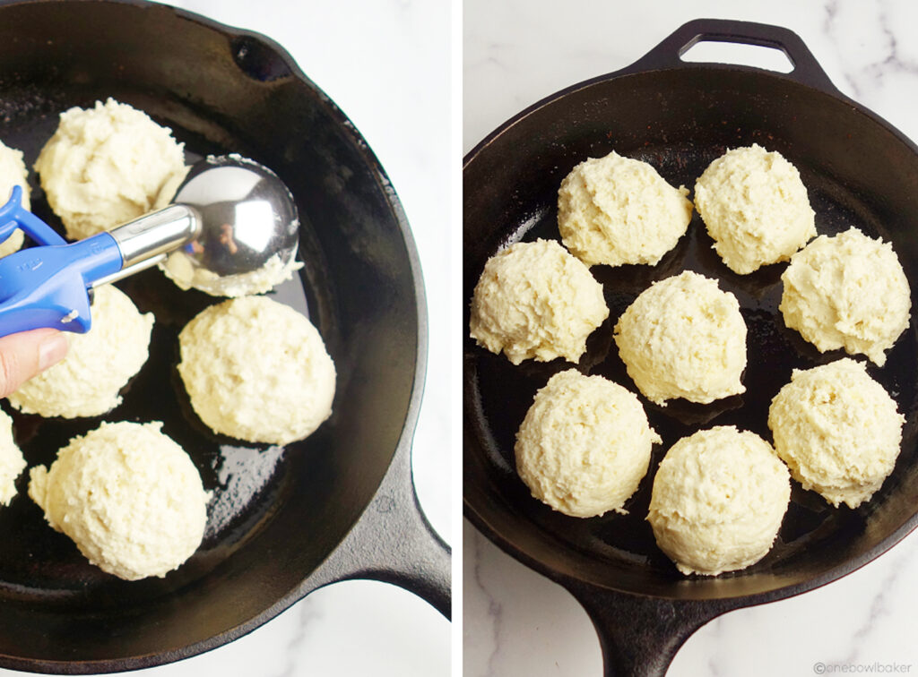 biscuit dough, portioned into a greased cast iron skillet
